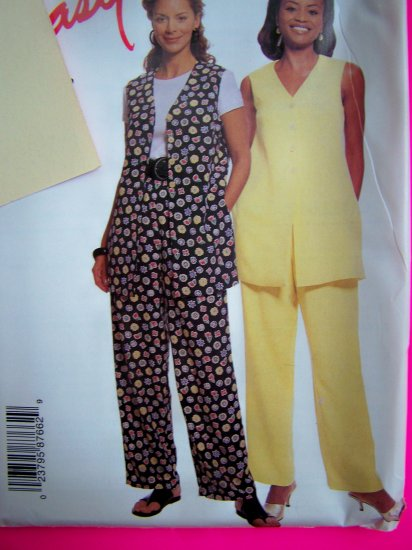 Easy Tunic Top Vest Shirt Pull on Pants Misses 10 12 14 16 Sewing Pattern 8766