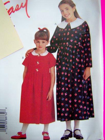 Girls 2 3 4 5 6 Long Dress Shirt Waist Gathered Skirt McCalls Sewing Pattern 8873 Free Shipping