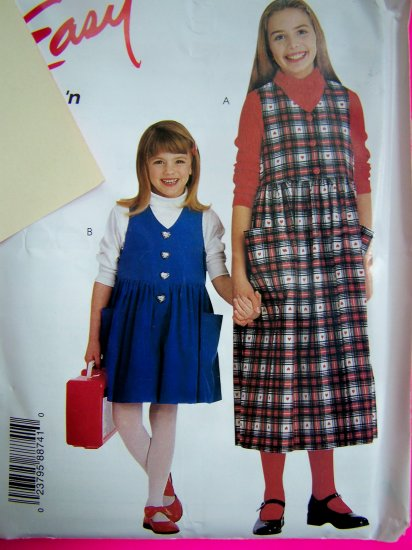 Girls Easy Jumper Dress or Romper 2 3 4 5 6 Sewing Pattern 8874 Free USA Shipping