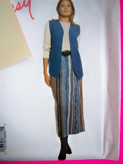 Misses Boxy Lined Vest Pull on Long Skirt 4 6 8 10 Sewing Pattern 8886