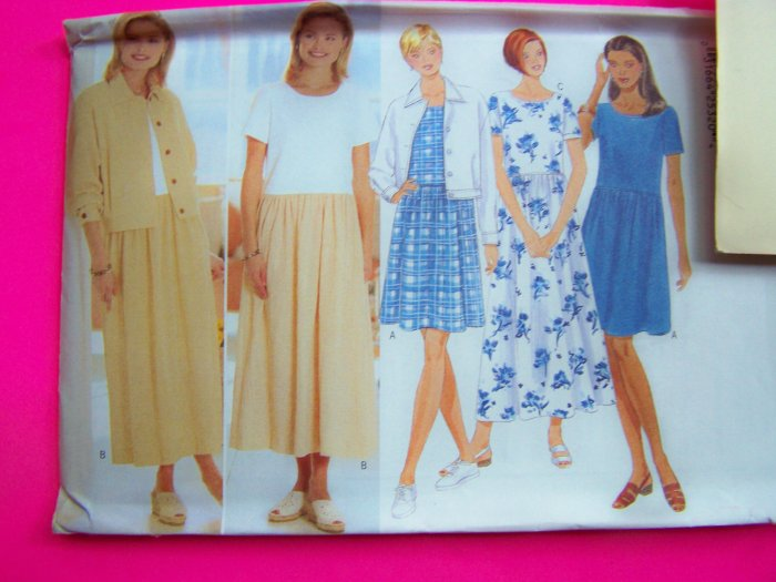 Misses Jacket Dress Raised Waist Dirndl Skirt 6 8 10 Sewing Pattern 4934