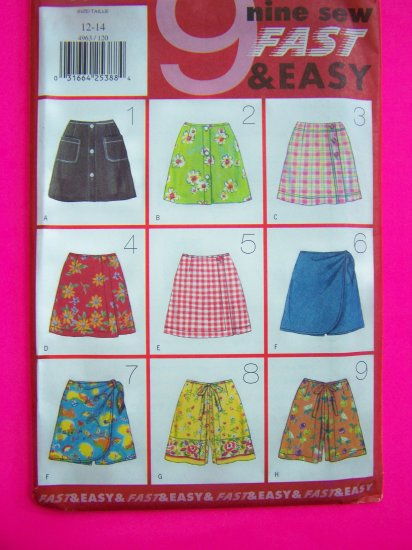 Girls 12 14 Skort Set 9 Fast and Easy Skorts Sewing Patterns 4963