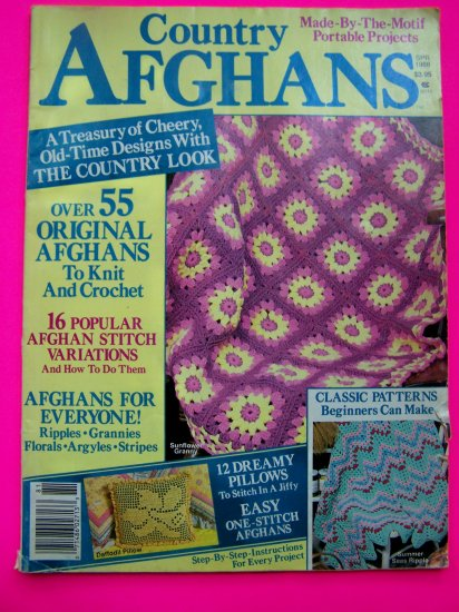 1980s Vintage Country Afghans Magazine Over 55 Patterns Knitting Crochet Pillows Afghan Pattern