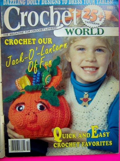 Vintage Crochet World Pattern Magazine Pumpkin Halloween Doily Afghan Barbie