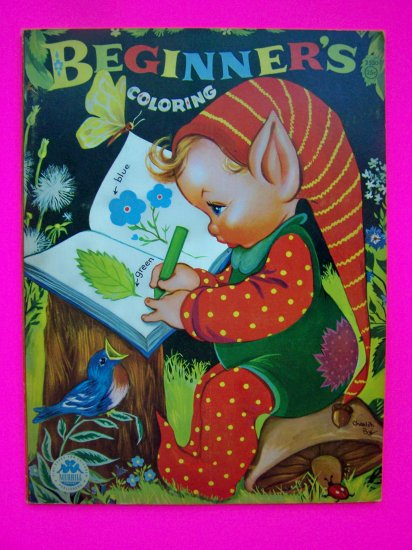 1940s 1950s Vintage Beginners Coloring Paint Book Pictures of Girls Boys Elf Animals Elves Merrill