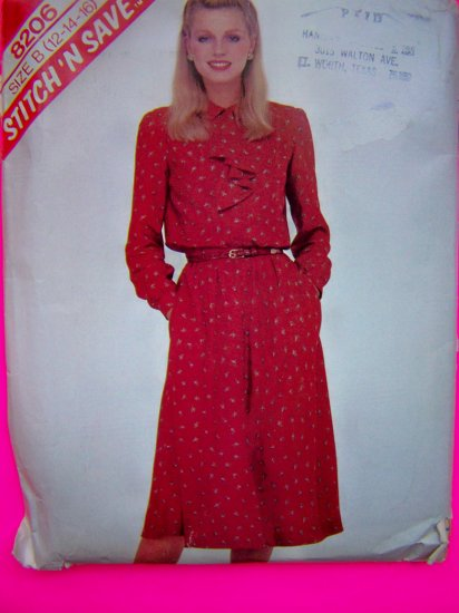 1980s Vintage Ruffle COllar BLouse Flared Skirt 12 14 16 Sewing Pattern 8206