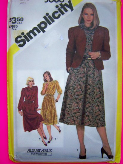 Vintage 1980s Pullover Flared Dress Lined Cardigan Jacket B 36 Sewing Pattern 5686
