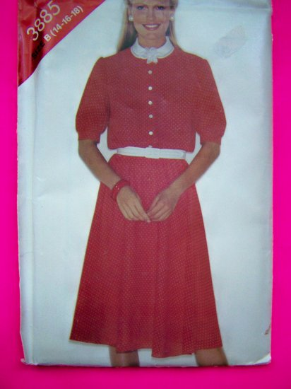 1980s Vintage Flared Loose Shirtwaist Dress 14 16 18 Sewing Pattern 3885