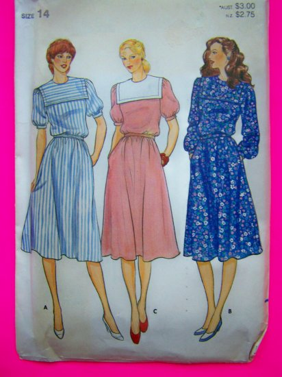 Vintage Sailor Collar Dress Size 14 Puff Short or Long Sleeves Sewing Pattern 4271