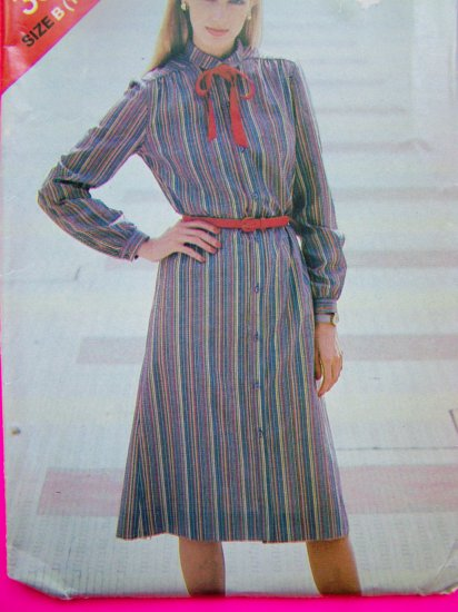 Misses Vintage Long Sleeve Dress Sizes 14 16 18 Sewing Pattern 3824