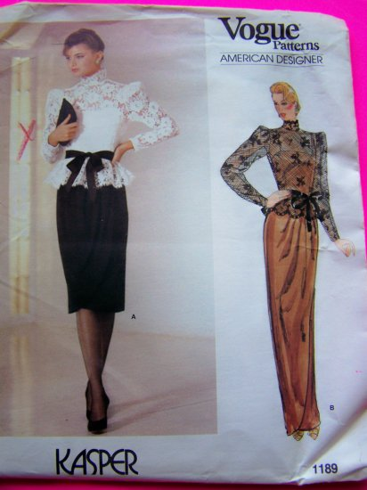 Vintage Vogue American Designer Kasper Evening Gown Cocktail Dress Sewing Pattern 1189