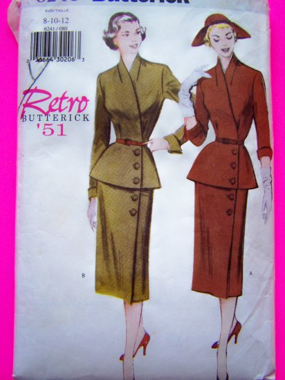 Retro 1951 Peplum Wrap Shirt Wiggle Skirt Belt Sewing Pattern 6241
