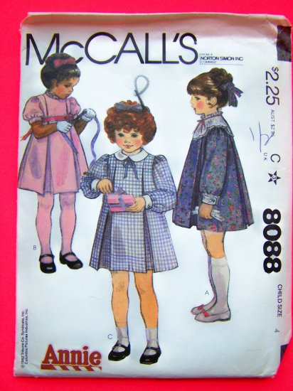 Girls 4 Inverted Pleat Puff Sleeve Christmas Dress Vintage Sewing Pattern 8088