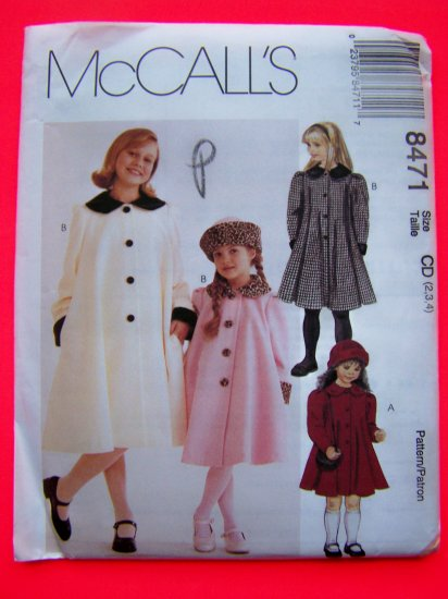 GIrls 2 3 4 A Line or Flared Coat Jacket Winter Hat Sewing PAttern 8471