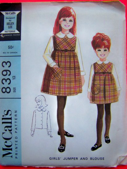 1960's Vintage Girls 12 Jumper Dress Long Sleeve Blouse Mod 60s Sewing Pattern 8393