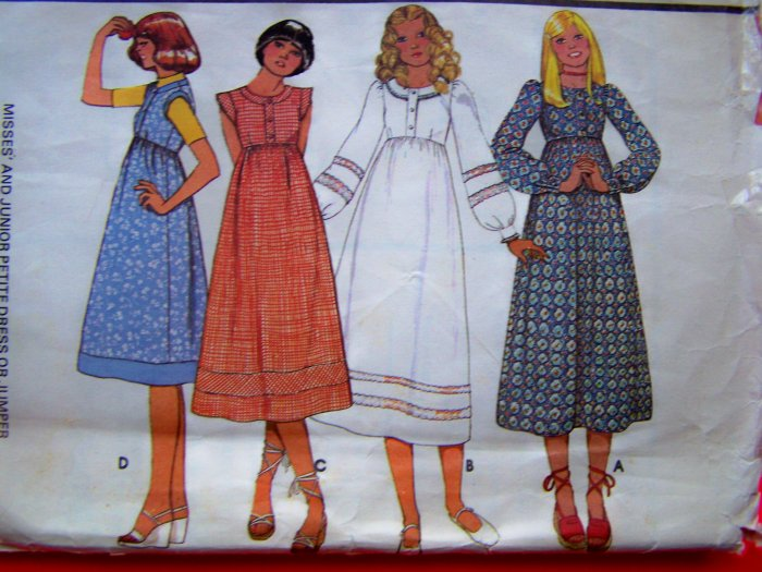 70s Vintage B 34 Empire Midi Dress or Jumper Hippie Sewing Pattern 5599