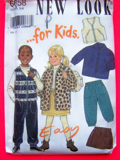 Boys Girls Sweatshirt Fleece Jacket Vest Pants Skirt 3 4 5 6 7 8 Sewing Pattern 6658