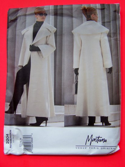 Vogue Paris Original Designer Montana Coat Jacket 12 14 16 Sewing Pattern 2204