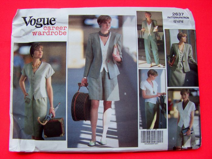 Vogue Career Clothing Hip Jacket Skirt Shorts Pants Shirts 12 14 16 Sewing Pattern 2637