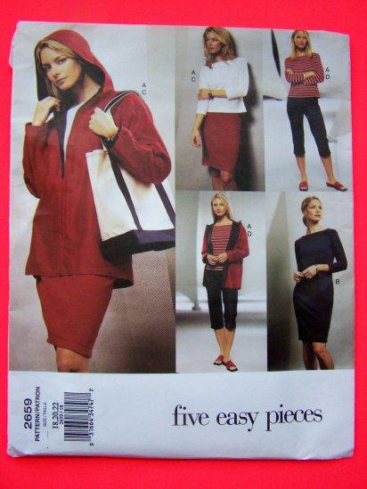 Vogue Hoodie Jacket Dress Top Skirt Pants Plus Size 18 20 22 Sewing Pattern 2659