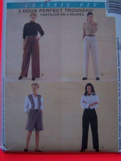 Misses 14 Skinny or Wide Leg Trousers Shorts Pants Fitting Shell Sz 14 Sewing Pattern 9550