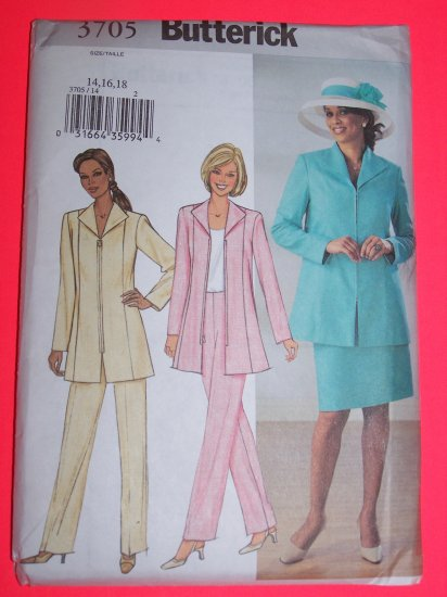 New Zip Up Jacket Slim Skirt Tapered Pants 14 16 18 Butterick Sewing Pattern 3705