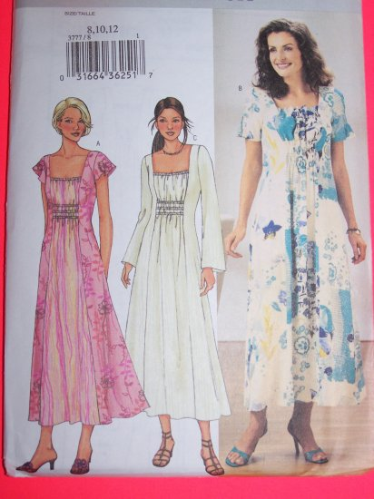 Hippie Peasant Flared Dress Retro 8 10 12 Sewing Pattern 3777 1 Penny USA Shipping