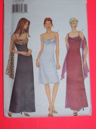 Drape Evening Gown Strap Dress Scarf 14 16 18 Sewing Pattern 6874 1 Penny USA Shipping