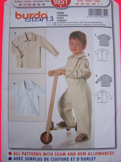 New Burda Sewing Pattern 9851 Boys Short Long Sleeve Button Up Shirt 6M 9M 12M 18M 2T 3T