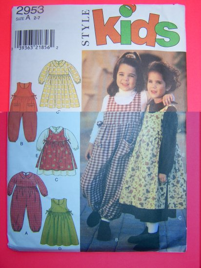 Girls or Toddlers Romper Dress Pinafore Apron 2 3 4 5 6 7 Sewing Pattern 2953 Penny USA Shipping