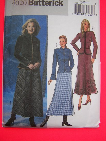 Peplum Jacket Flared Bias Skirt Ankle Length 14 16 18 Sewing Pattern 4020