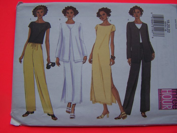 Easy Jacket Pullover Top Slim Dress Straight Leg Pants 18 20 22 Sewing Pattern 6470