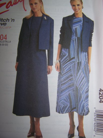 Long Sleeve Jacket Empire Waist Dress Plus Size 16 18 20 22 Sewing Pattern 4204