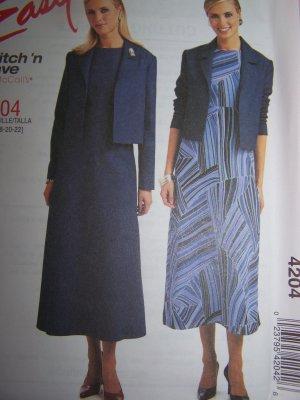 Long Sleeve Jacket Empire Waist Dress Plus Size 16 18 20 22 Sewing Pattern 4204