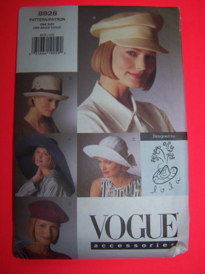Vogue Hat Sewing Pattern 8928 Hats Beret Cap S M L 1 Penny USA Shipping