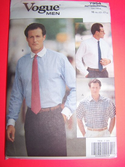Mens Loose Fitting Dress Shirt Collar Pocket sewing pattern 7954 USA Shipping 1 Penny