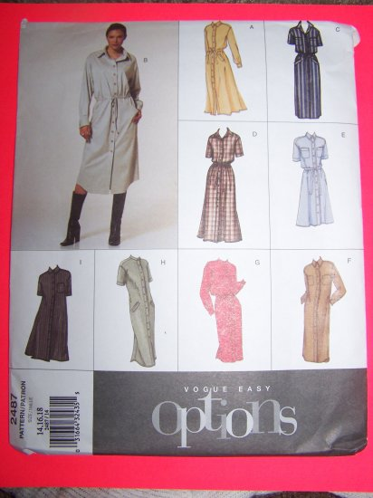 Vogue Easy Options Dress 9 Dresses 14 16 18 Sewing Pattern 2487
