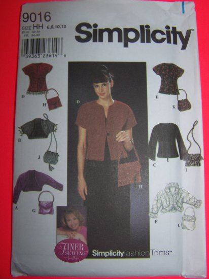 Simplicity Sewing Pattern 9016 Jackets 6 Purses Knit Jacket 6 8 10 12 USA Shipping 1 Cent