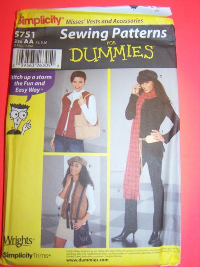 Sewing for Dummies Pattern Vest Hats Scarf Purse Belts XS S M Pattern 5751