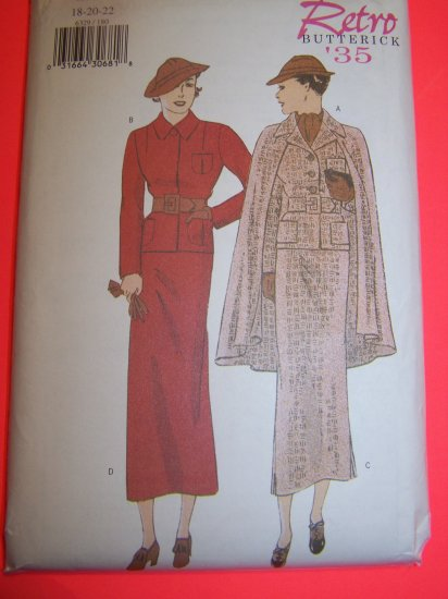 1930s Vintage Suit Jacket Cape Straight Skirt Plus Size 18 20 22 Retro Sewing Pattern 6329