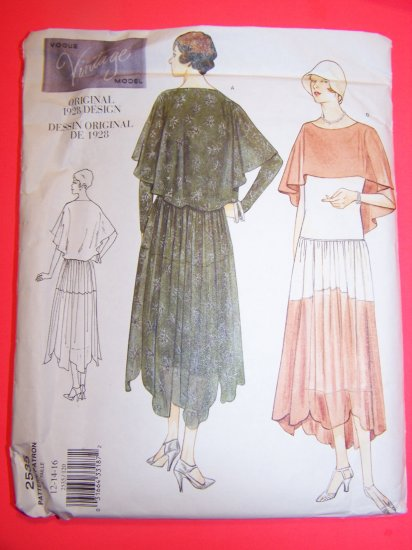1920s Vintage Vogue Sewing Pattern 2535 Dress Slip Capelet Shaped Hem 12 14 16