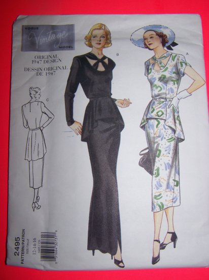 1940s Vintage Vogue Sewing Pattern 2495 Peplum Dress Mid or Evening Gown 12 14 16