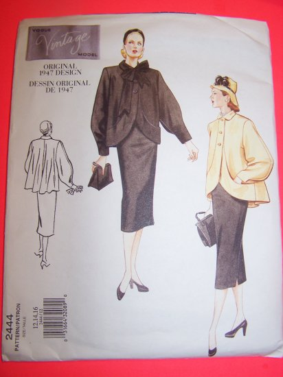 1940s Vintage Swing Coat  A Line Skirt 12 14 16 Vogue Sewing Pattern 2444