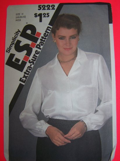 1980s Vintage Long Sleeve Blouse Buttoned Cuffs 6 8 10 Sewing Pattern 5222 Penny SHip USA