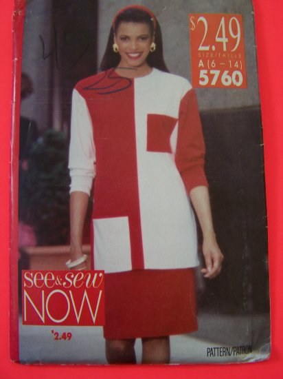 Misses Top Tapered Skirt  Colorblock 6 8 10 12 14 Sewing Pattern 5760 Penny SHipping USA