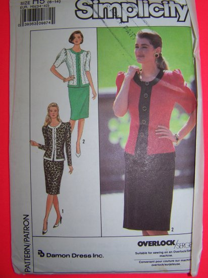 Straight Skirt Hem Slit Princess Seam Jacket 6 8 10 12 14 Vintage Sewing Pattern 9510