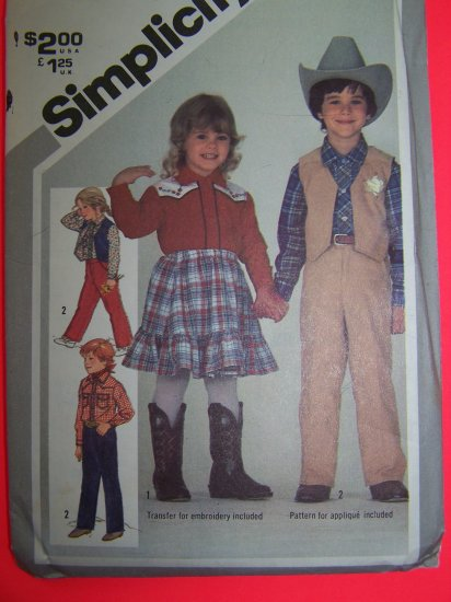 Vintage Childs Western Shirt Pants Skirt Lined Vest Sz 3 T Sewing Pattern 5334