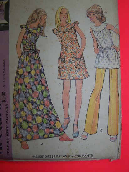 Vintage Hippie Maxi Mini Dress Smock Top Puff Sewing Pattern 3240 Penny USA Shipping