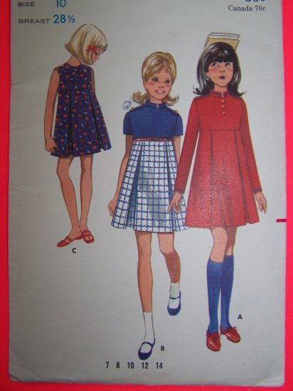 Girls Vintage Inverted Pleat Empire Waist Dress Sewing Pattern 5163 1 Penny Shipping