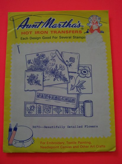 Vintage Aunt Martha's Hot Iron Transfers Pattern 3670 Flowers 1 Penny Shipping